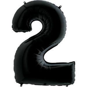 Фольгированный шар «Цифра 2» Черный