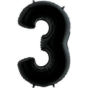 Фольгированный шар «Цифра 3» Черный