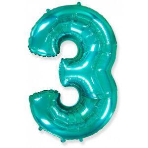Фольгированный шар «Цифра 3» Тиффани