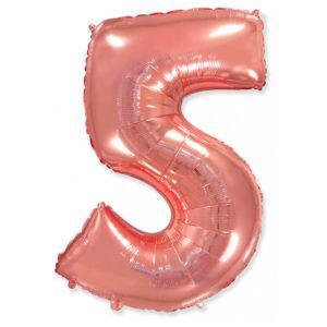 Фольгированный шар «Цифра 5» Розовое Золото
