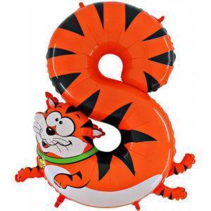 Фольгированный шар «Цифра 8» Кот