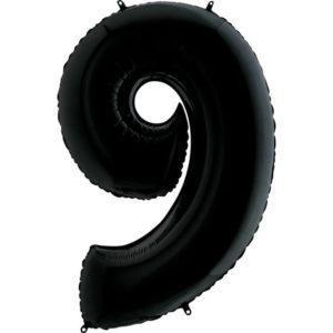 Фольгированный шар «Цифра 9» Черный