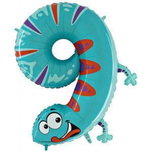 Фольгированный шар «Цифра 9» Ящерица