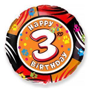 Фольгированный шар круг «Цифра 3»