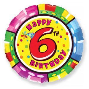 Фольгированный шар круг «Цифра 6»