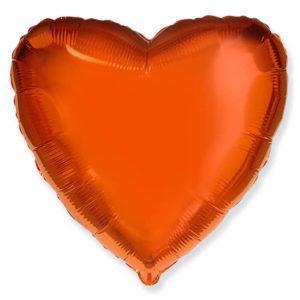 Фольгированный шар сердце, Оранжевый