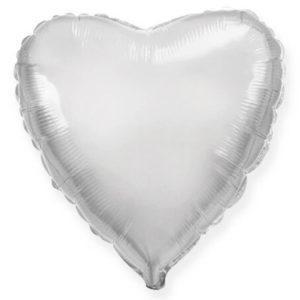 Фольгированный шар сердце, Серебро