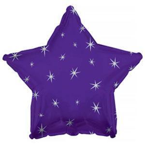 Фольгированный шар звезда, Искры, Фиолетовый