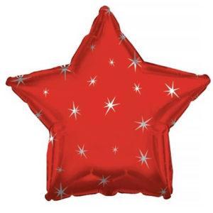Фольгированный шар звезда, Искры, Красный