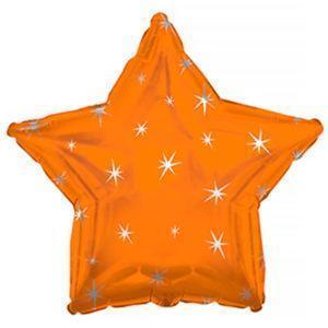 Фольгированный шар звезда, Искры, Оранжевый