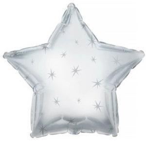 Фольгированный шар звезда, Искры, Платиновое серебро
