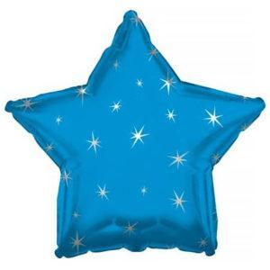 Фольгированный шар звезда, Искры, Синий