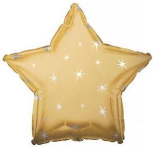 Фольгированный шар звезда, Искры, Золото