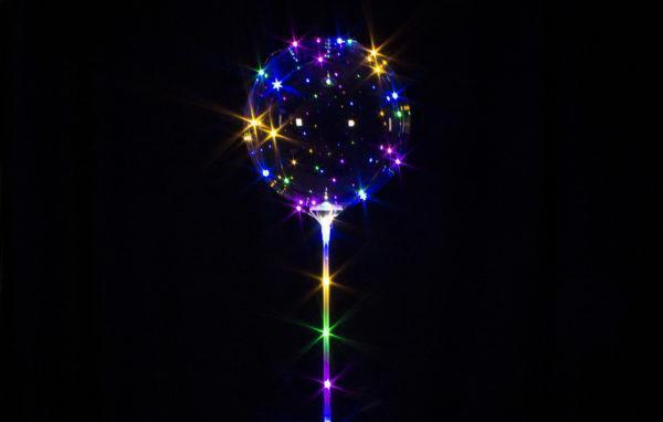 Светящиеся шары баблс на палке, с батарейками. Шары надуты воздухом.