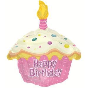 Шар Фигура «Кекс с Днем рождения, Розовый»