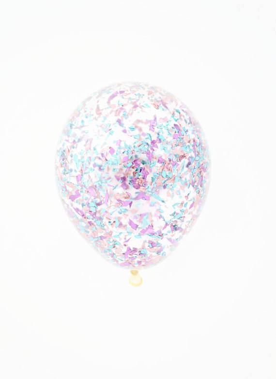 Шар с конфетти «Розовая и голубая стружка»