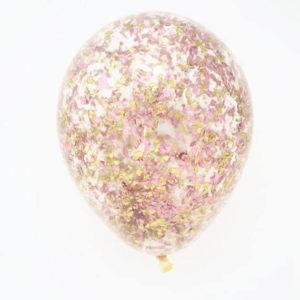 Шар с конфетти «Золотая и розовая стружка»