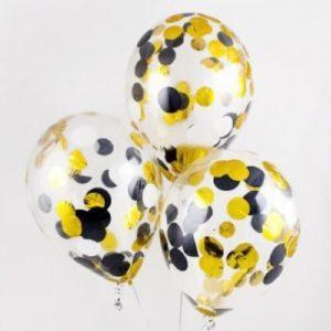 Шары с конфетти «Черные и желтые круги»