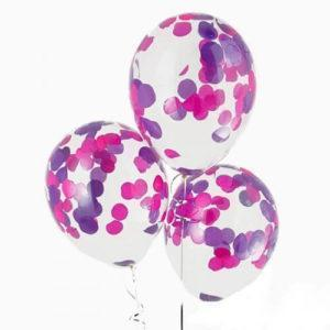 Шары с конфетти «Фиолетовые круги»
