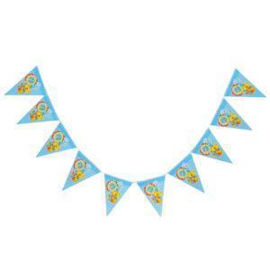 Праздничная гирлянда Мишка 10 флажков цвет голубой