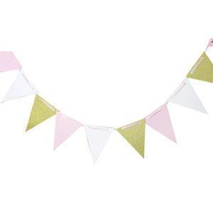 Праздничная гирлянда white/pink/gold 300см